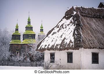 Traditional Ukrainian folk architecture in Kiev Museum
