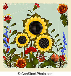 Traditional Ukrainian ornament with a sunflower on the vintage background. eps10