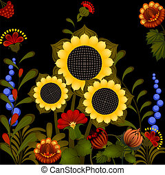 Traditional Ukrainian ornament with sunflower. eps10