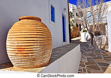 Traditional vase in the street of greek town