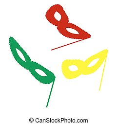 Traditional Venetian Carnival Decorative mask sign. Isometric style of red, green and yellow icon.