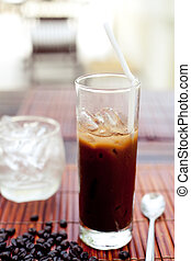 Traditional Vietnamese, Thai Ice coffee with beans.