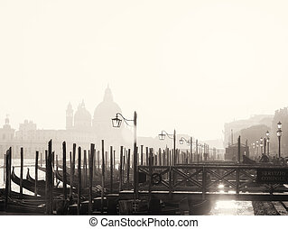 Traditional View of the Lagoon in Venice. Black and White
