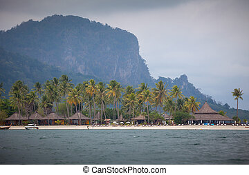traditional village on the sea with blue sky in Thailand