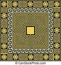Traditional vintage gold Greek ornament (Meander) and floral pattern on a black background