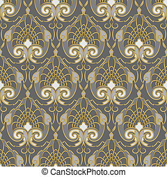 Traditional vintage pattern, gold ornament on a silver background