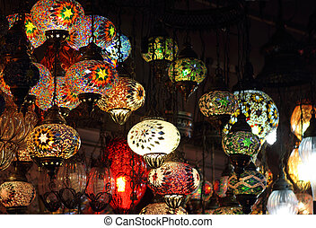 Traditional vintage Turkish lamps over light background in...