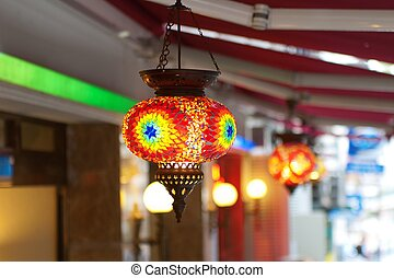 Traditional vintage Turkish lamps over light background