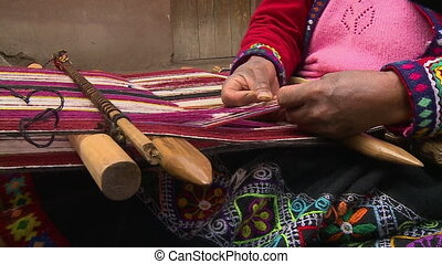 Traditional Weaving By Rural Woman, Andes, Peru - Extreme...