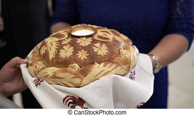 Traditional wedding bread and salt