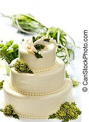 Traditional wedding cake with chrysanthemum flowers