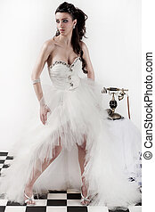 Traditional wedding dress - Beautiful brunette model wearing...