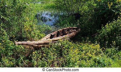 Traditional weed boat at the shore of Tana lake, Bahir Dar, Ethiopia