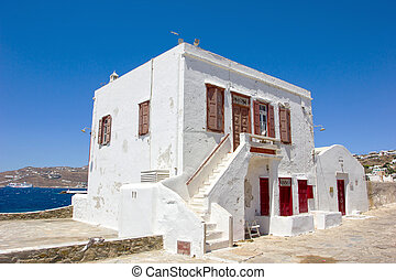 traditional white house in Mykonos