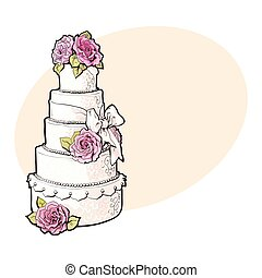 Traditional white tiered wedding cake decorated with pink marzipan roses