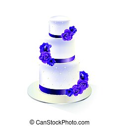 wedding cake - Traditional white tiered wedding cake...