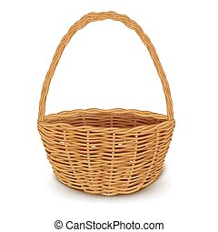 Traditional Wicker Basket Isolated - Isolated realistic...