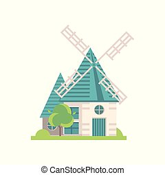 Traditional windmill building, ecological agricultural manufacturing vector Illustrations on a white background