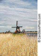 Traditional windmill landscape - A typical Dutch landscape