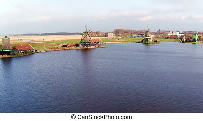 Traditional windmills at Zaanse Schans in the Netherlands