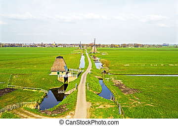 Traditional windmills in a dutch landscape in the Netherlands
