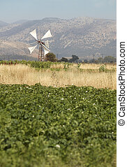 Traditional windmills in Lasithi plateau. Crete. Greece