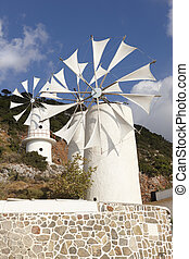 Traditional windmills near Lasithi plateau. Crete. Greece
