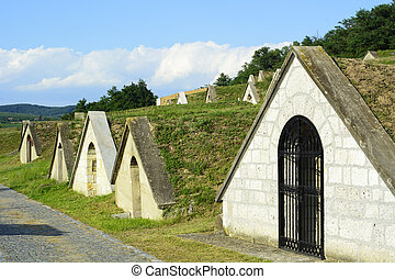 Traditional wine cellars in Tokaj region - Hercegkut Sarospatak Hungary