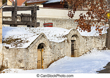 Traditional wine cellars near Sarospatak Tokaj region ...