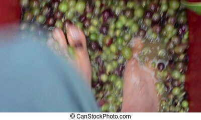 Traditional Wine making process - Childs feet squash...
