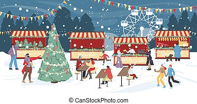 Traditional winter holiday celebration. Night christmas fair under snowfall. People visiting fairground having fun rest. Food drink local street market, outdoor cafe around decorated xmas tree