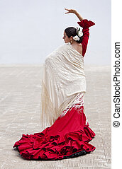 Traditional Woman Spanish Flamenco Dancer In Red Dress - ...