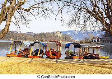 Traditional wooden boats on Lake Bled in Slovenia