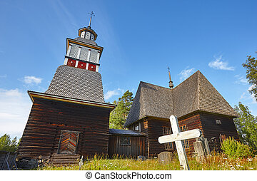 Traditional wooden church in Finland. Petajavesi. Finnish cultural heritage