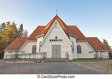 Traditional wooden church in Finland. Haukipudas. Finnish landmark