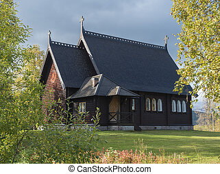Traditional wooden Church in Kvikkokk built in 1906, located in northern Sweden Lapland. End of gamous Kungsleden trail passes over the village