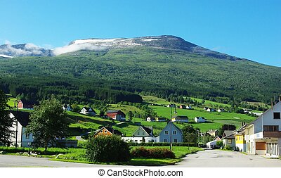Traditional wooden houses in Invik, Norway