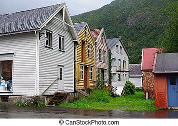 Traditional wooden houses in Lyrdal, Norway