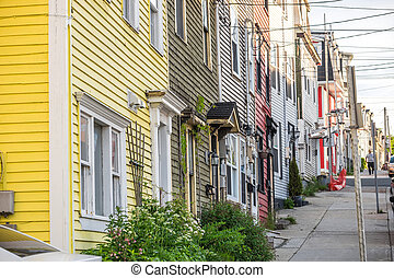 Traditional wooden houses in the downtown of St. Johns, Newfoundland, Canada