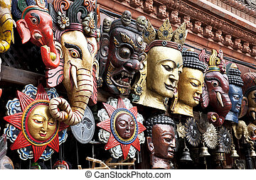 Traditional Wooden Masks, Kathmandu, Nepal - Image of wooden...