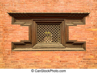 Traditional wooden Nepalese window