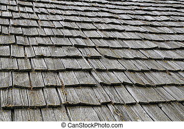 Traditional wooden roof tile of old house