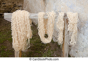 Traditional wool dyeing
