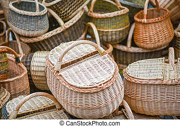 Traditional wreathed baskets in the handicraft mart Kaziukas, Vilnius, Lithuania