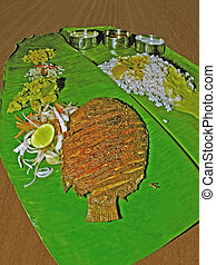 traditionally, hoja, pez, thali, indio, (meals), servido, plátano, sur