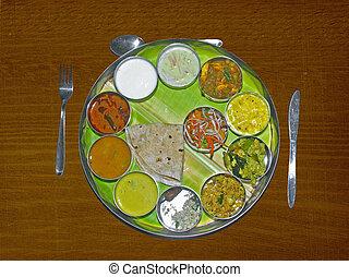 traditionally, hoja, thali, indio, (meals), servido, plátano, sur