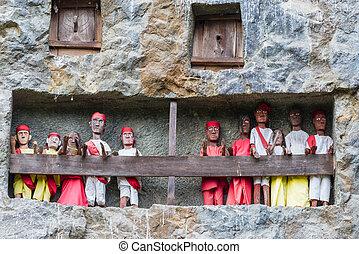 traditionele , begrafenis, bouwterrein, tana, toraja