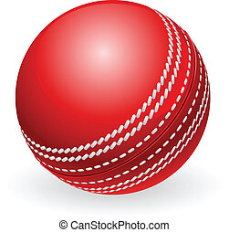 traditionele , cricket bal, glanzend, rood