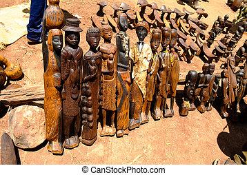 traditionele , figurine, op, vaken, lokale markt, kei, afer,...