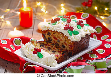 traditionele , fruitcake, kerstmis